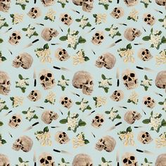 #pattern #skull #floral #pastel #repeat