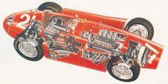 Lancia D50 Cutaway #ferrari #diagram #lancia #cutaway #illustration