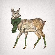 FLECK-TESSERACT, Some wintery prints and cards will be on their way... #deer #christmas #illustration #art #winter