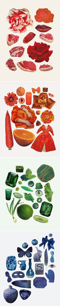 Beth Hoeckel - Collage #collage #illustration #art #deconstructed #items #paraphernalia #objects #colour #sets