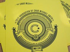 FPO: Chad Michael Smith Graduation Invitation #line #pattern #invitation #elaborate #yellow #color #circle