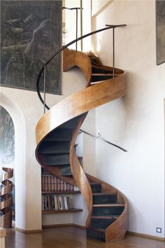 Amazing wood spiral staircase