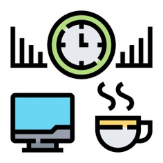 See more icon inspiration related to hot chocolate, time and date, miscellaneous, wall clock, bar graph, coffee, screen, monitor, computer and clock on Flaticon.
