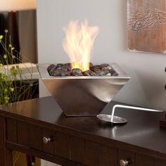 Indoor And Outdoor Fireplace #gadget