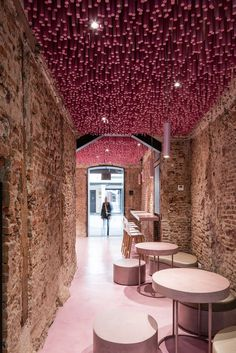 12,000 Pink Wooden Sticks Hanging from the Ceiling