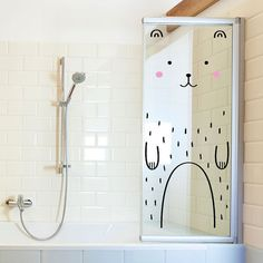 Haru the Happy Bear Door decal / Wall decal for by MadeofSundays #shower #glass #bear #interior #sticker #bathroom