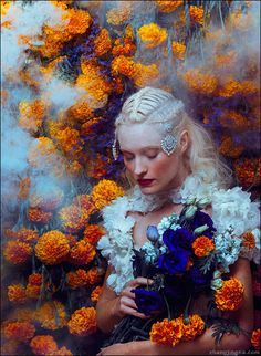 Motherland Chronicles 34 In the Secret Garden Zhang Jingna zemotion.jpg (502×686) #portrait #smoke #flowers #zhang jinga #motherland chroni