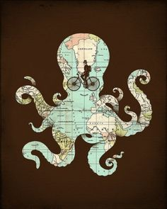 Tumblr #bicycle #octopus #map