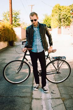 October 18, 2013. Went for a bike ride in my new varsity jacket.Jacket: Stay Chic Fashion (c/o)Shirt: Indigo Japanese Chambray J. Crew #stayclassic #menswear