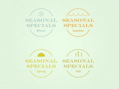 Seasonal Specials #spring #nick #icon #cold #fall #icons #warm #sickelton #cafe #summer #seasons #logo #winter