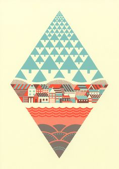 Waterfrontier | Andrew Holder #pattern #color #shapes #simple #illustration