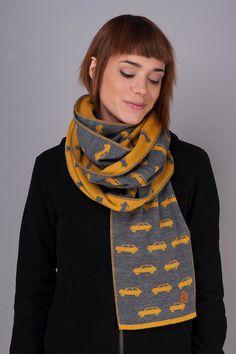 Szalik Niedzielny żółty | Pan tu nie stał #fashion #yellow #car #scarf
