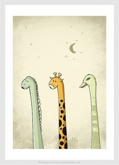 Long Neck Buddy Art print size 8 x 11 by lonelypeopleart on Etsy