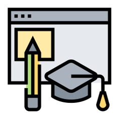 See more icon inspiration related to lesson, online learning, online education, e-learning, mortarboard, browser, education and pencil on Flaticon.