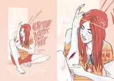 JEROME MIREAULT / colagene.com #script #boho #orange #navao #outlines #indian #illustration #hippie #type #typo #native