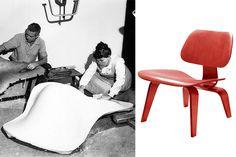 Charles y Ray Eames moldeando su Chaise Lounge chair. A la derecha su silla LCW.