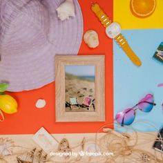 Summer concept with frame and summer objects Free Psd. See more inspiration related to Frame, Mockup, Summer, Template, Paper, Beach, Sea, Photo frame, Orange, 3d, Photo, Holiday, Mock up, Decoration, Hat, Elements, Watch, Decorative, Sunglasses, Vacation, Psd, Wooden, Summer beach, Mockups, Up, Season, Wooden frame, Concept, Decorative elements, Objects, Seashells, Mock, Summertime, 3d mockup, Psd mockup and Seasonal on Freepik.