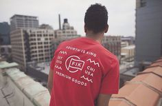 Shot from our Fall Lookbook featuring our red FIK flag pocket tee. Photographed by Zachary James Johnston. #chicago #branding #design #tshirt #is #fahion #fourth #streetwear #king
