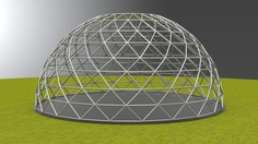 geodesic dome large dome frame structure 3d model obj mtl 3ds dxf 3dm dwg 1