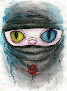 Ninja Cat #ninja #color #cat #painting
