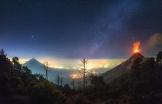 Albert Dros Captured Volcano Erupting Under The Milky Way In Guatemala
