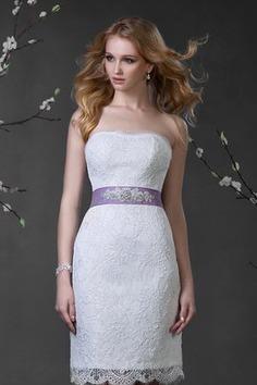 Robe de mariée naturel courte de bustier cordon de traîne moyenne - photo 1