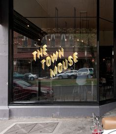 The Town Mouse Gold Metallic Type Storefront Window Decal #type