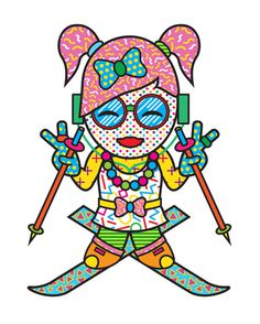 ILLUSTRATION Mitchell Clements #vector #girl #skiing #illustration #harajuku #japan