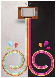 Fake Media on Behance #illustration #tv #swirl #art #design #rainbow