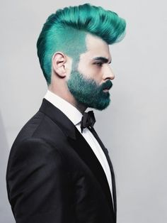 Tumblr #tux #beard #bold #hair #blue #teal