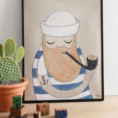 #nordic #design #illustration #danish #maritime #simple #blue #living #interior #kids #room #poster #sailor #stripes #man #pipe #beard