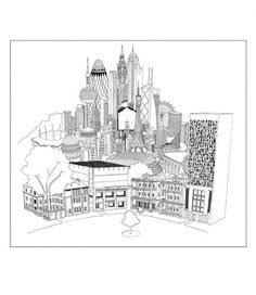 'Homes' by Chris Dent | QGK01441 | Gifts and Games | Accessories | Shop Online | en-GB | dunhill #chris #white #cityscape #black #illustration #and #dent #dunhill