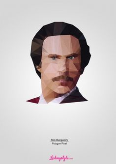 ron-burgundy-polygon-pixel.jpg (JPEG Image, 900 × 1273 pixels) #origami #polygon #anchorman