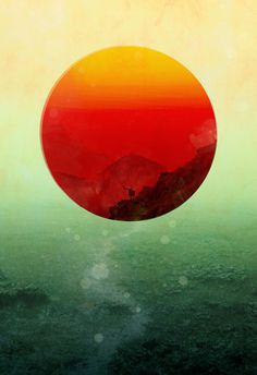 In the end, the sun rises Art Print #sun #red #wildlife #orange #art #circle #mountains #green