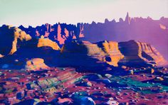 jonathan zawada conceptual lands #photography #neon #mountains #conceptual lands
