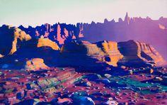 jonathan zawada conceptual lands #photography #neon #mountains #conceptual lands