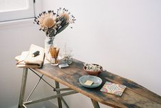 CLARE VIVIERSTYLING: CLAIRE COTTRELLPHOTOGRAPHER: STELLA BERKOFSKY #spaces #design #wood #furniture #table