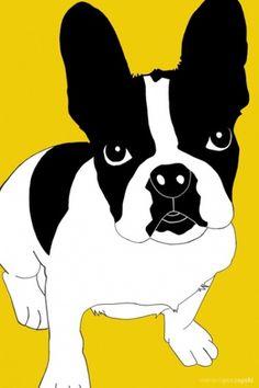 Batdog #bulldog #illustration #yellow #dog
