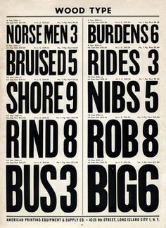 Wood Type, Specimen Sunday. From \'American Printing Equipment Complete 1966–1967 Type Catalog\'