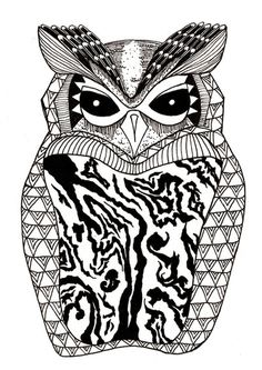 Art Print #illustration #drawing #owl #black&white