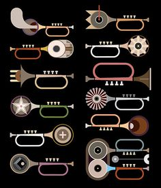 Trumpets - vector illustration #design #art #collection #abstract #music #vector #graphic #jazz #icon #objects #black #band #concept #festiv