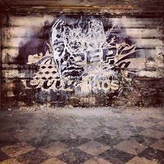 Vhils in Paris at the remains of the legendary club Le Bain Douche.