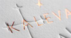 The beuty of letterpress. Letterpress business card and copper foil.
