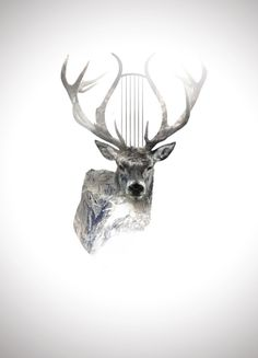 Behance :: Editing Digital Illustrations #deer #alpine #digital #illustration #nature #music #mountains
