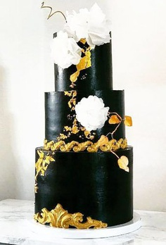 If you want to surprise your guests, then a black wedding cake is a great idea.