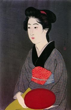 hanga gallery . . . torii gallery: Woman Holding Tray by Hashiguchi Goyo #red #woman #kimono #print #black #japan