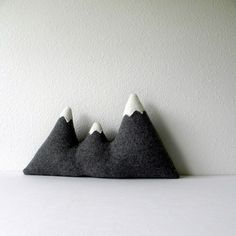 the Sisters   grey wool mountain range pillow
