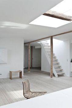 Open space. Fredgaard Penthouse by Norm.Architects. © Jonas Bjerre-Poulsen. #beam #column #openplan