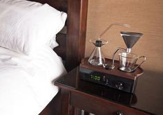 coffee-making alarm clock wakes you up with a freshly brewed mug