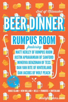 Beer Dinner #rumpus #milwaukee #pop #design #restaurant #starr #poster #rev #scott #room